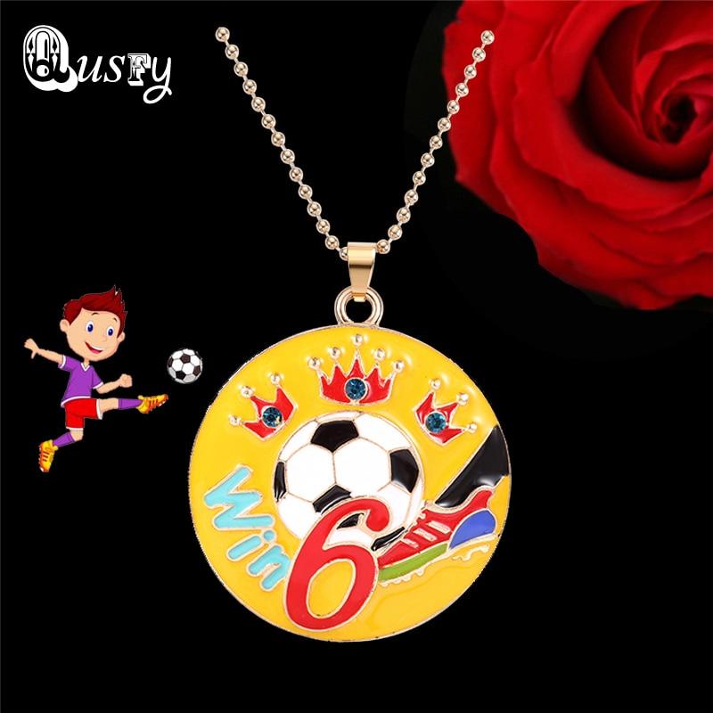 Win NO.6 Football Pendant Enamel Necklace Soccer Pendant Sport Neckalce Jewelry for Men Women 2018 new ec