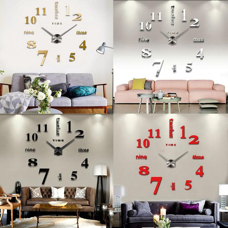 home decoration big mirror wall clock modern design 3d diy l
