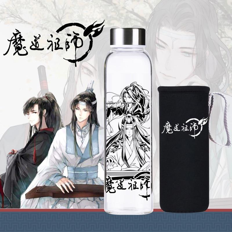1Pc Anime The Founder Of Diabolism Mo Dao Zu Shi Glass Cup Cartoon Character Wei Wuxian Water Cup Bottle