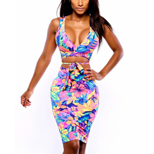 Stylish Sexy Womens Flower Two Piece Bralet Bustier Top + Skirt Ladies Skirts Party Clubwear Clothes