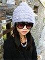 Мода Зима Теплая Женщины 100% Реальные Неподдельные Трикотажные Норки Hat Лучше Цена Крышка Упругой 5 Цветов