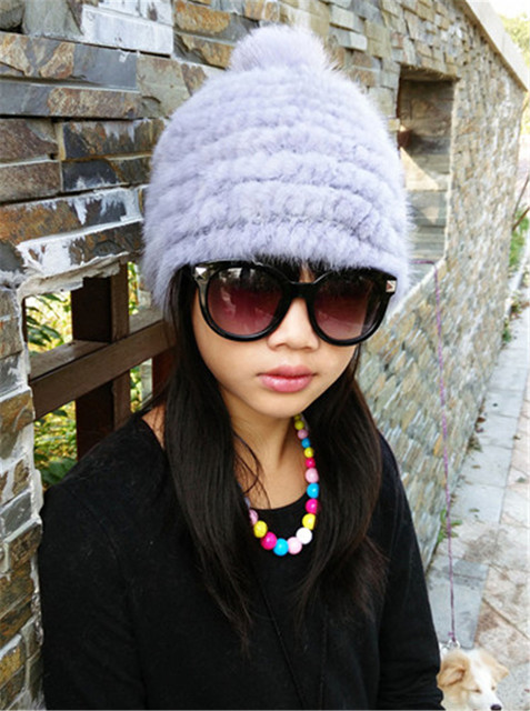 Fashion Winter Warm Women 100% Real Genuine Knitted Mink Fur Hat Better Price Cap Elastic 5 Colors