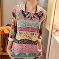 IYAEGE Women Shirts Chiffon shirts 2017 Summer Style Lace Floral Print tops Three Quarter Puff Sleeves Lady Casual Tops TX2062