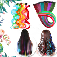 """AliLeader 87 Colored Long Straight Ombre Synthetic Hair Extensions Pure Clip In One Piece Strips 20"""" Hairpiece For Women 2"""
