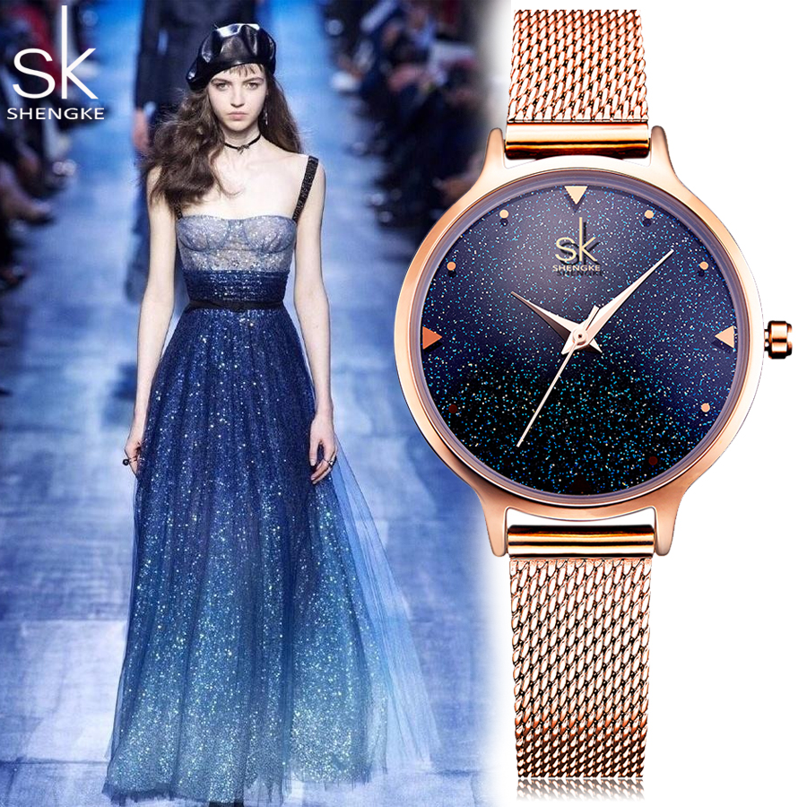 Shengke SK Luxury Brand Fashion quartz womem watches Starry Sky Rose Gold ladies dress Milan strap watch female Relogio Feminino