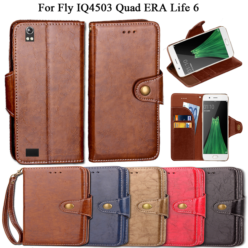 Luxury Flip Case For Fly IQ4503 Quad ERA Life 6 Case Cover Vintage PU Leather Wallet Kickstand Fundas Coque Cover With Lanyard