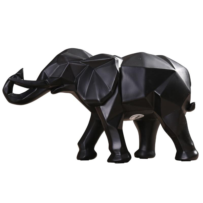 Nordic Resina Nera Figurine Elefante Complementi Arredo Casa Elefante Fortunato In Miniatura Vetrina Armadietto del Vino Artigianato Feng Shui Decorazione Regali