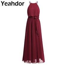 נשים גבירותיי אלגנטי שיפון ארוך שושבינה שמלת מסיבת חתונה ללא שרוולים הלטר מלא אורך שמלת נשף שמלת Vestido דה Festa