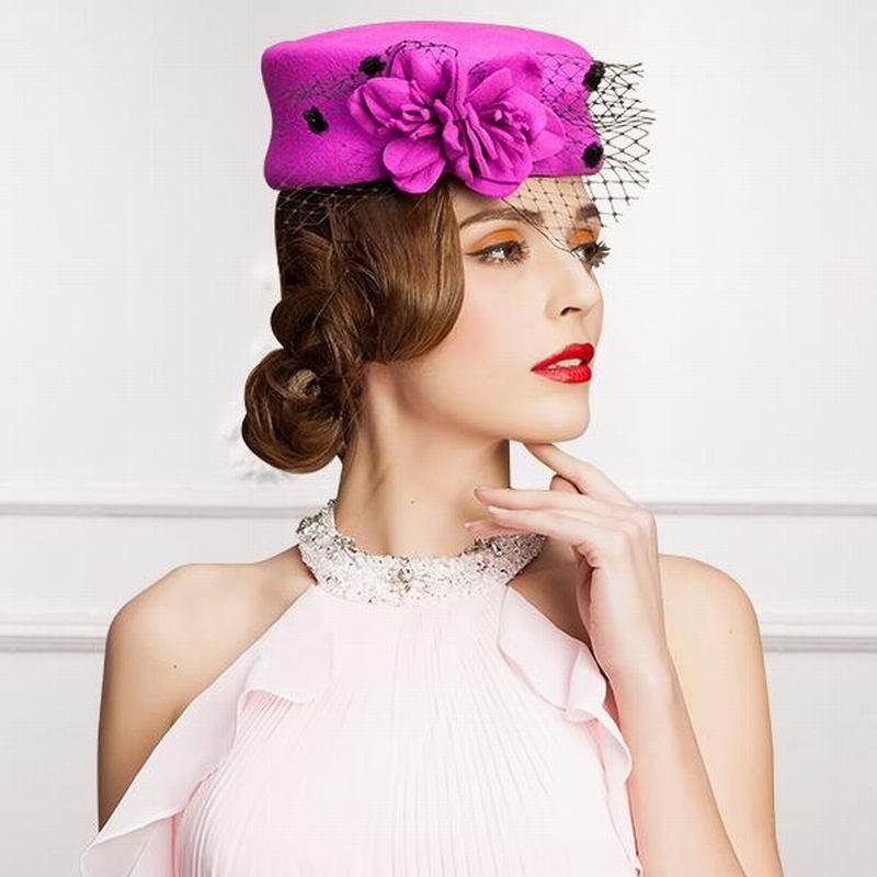 High Quality Lady Wool Fedoras Veil Flower Bowknot Hat Banquet Wedding Bride Vintage Hat For Women Church Classic Hat
