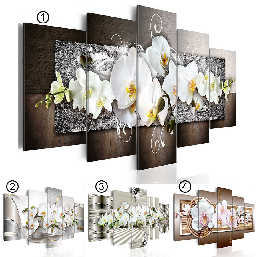2019 Hot Sell Fashion Wall Art Canvas Painting 5 Pieces Abstract Diamond Orchid Flower Modern Home Decoration No Frame(Size:4)