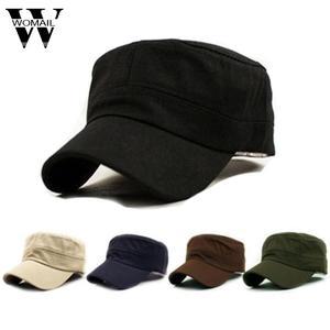 70d5cf65 Womail 1PC Unisex Style Plain Flat Vintage Army Hat Cap
