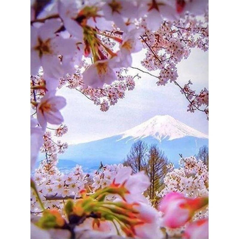 49 Lukisan Pemandangan Bunga Sakura Tiya Gambar