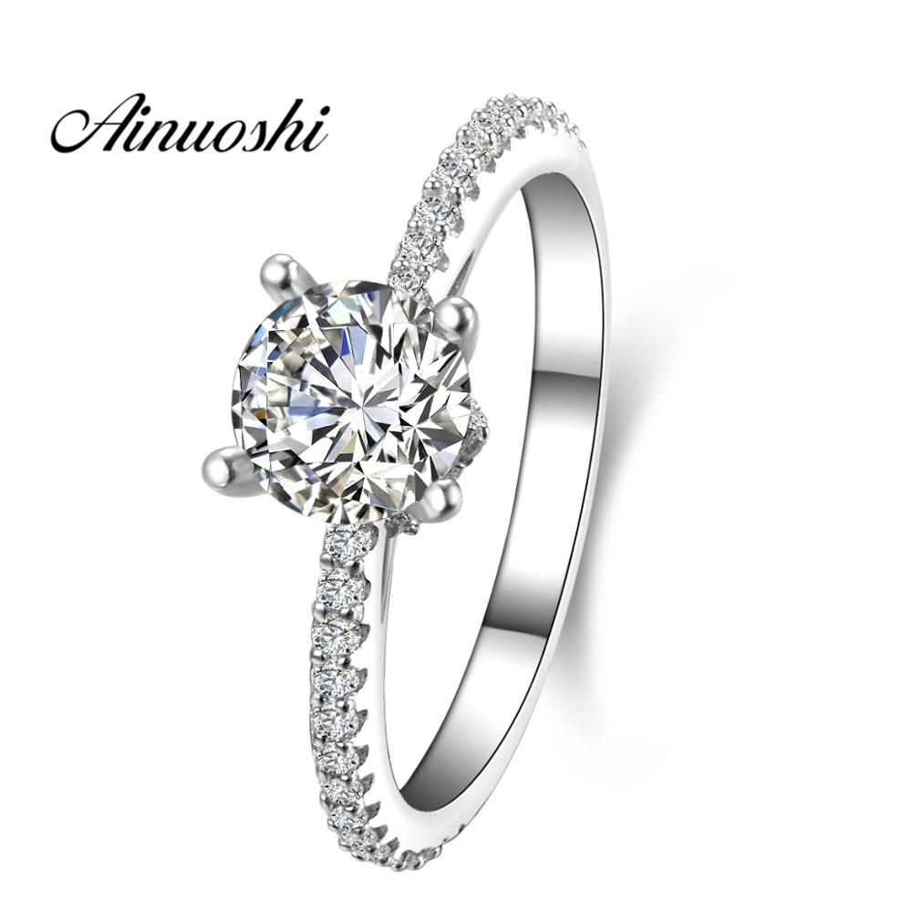AINUOSHI 1 CT Round Cut Silitaire Ring Simulated Diamond Sterling Silver Wedding Engagement Ring Anniversary Women Bridal BandAINUOSHI 1 CT Round Cut Silitaire Ring Simulated Diamond Sterling Silver Wedding Engagement Ring Anniversary Women Bridal Band