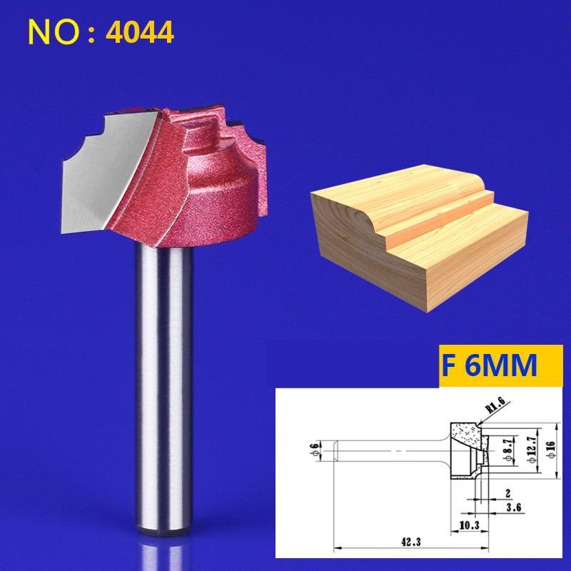 1pcs 6*22mm Chest/Door Engraving Machine Milling Knife,Wood Cutter Router Bit Knives 3D Lace Woodworking milling cutter NO:4044 1 2 5 8 round nose bit for wood slotting milling cutters woodworking router bits