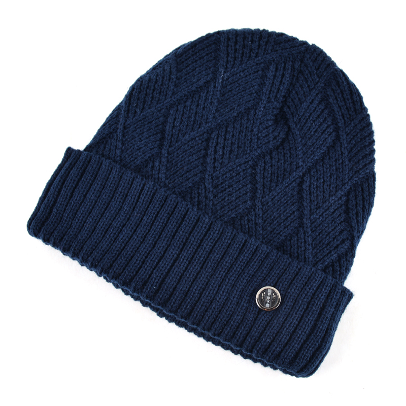 Classic Diamond Shaped Hat Winter Gorro Men Beanie Knitting Wool Hat Casual Plus Velvet Caps Men's Beanies Double Fabric Bone