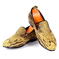 Harpelunde Yellow Men Classic Shoes Leopard Printed American Style Dress Loafers Free Shipping Size 7 14