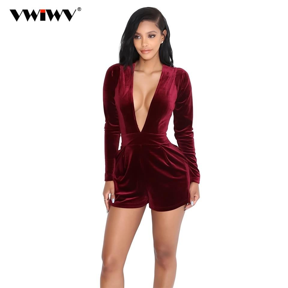 VWIWV nový přírůstek jaro hluboký výstřih velvet kombinéza ženy elegantní Romper dlouhý rukáv krátké kombinézy sexy jednodílné kombinézy