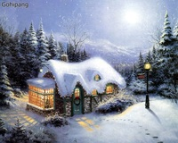 Christmas Snow Landscape DIY Painting By Numbers Kit Hand Painted Oil Painting On Linens Home Decor