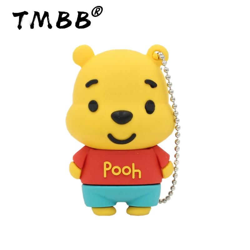 Sale Cartoon Cute Bear USB Flash Drives 64GB Mini Pendrive 128G  32G 8GB 16G 4GB Memory Stick USB 2.0 Pen Drive Flash Disk Gifts