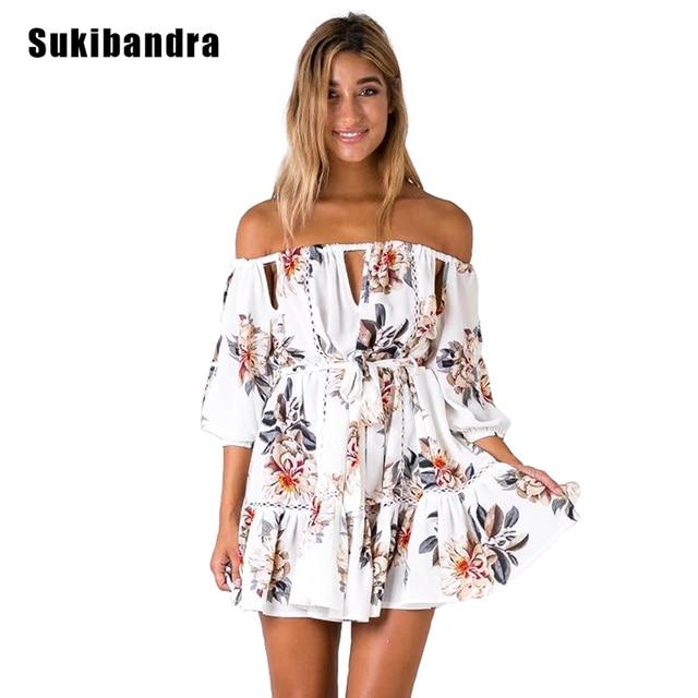 1a19de8342ae Sukibandra Summer Floral Print Short Dress Hollow Out Women Sexy Off  Shoulder Slash Neck Flower Dress Boho Bohemian Beach Dress