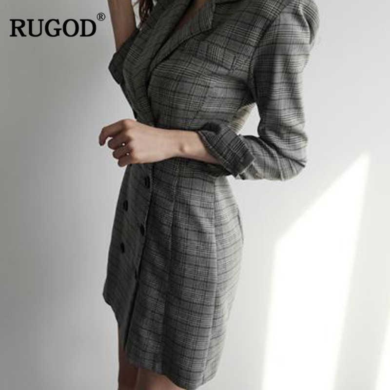 RUGOD 2018 новые Для женщин OL тонкий пиджак платье женские фигурные в клетку с длинными рукавами платье в деловом стиле Повседневное длинные офисные верхняя одежда платье женское платье женское