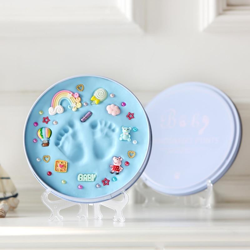 New Born Baby Hand Print Footprint Imprint Kit Handprint Mud Souvenirs Foot Hundred Days Gift Bebek Pad Storage Memento Blue