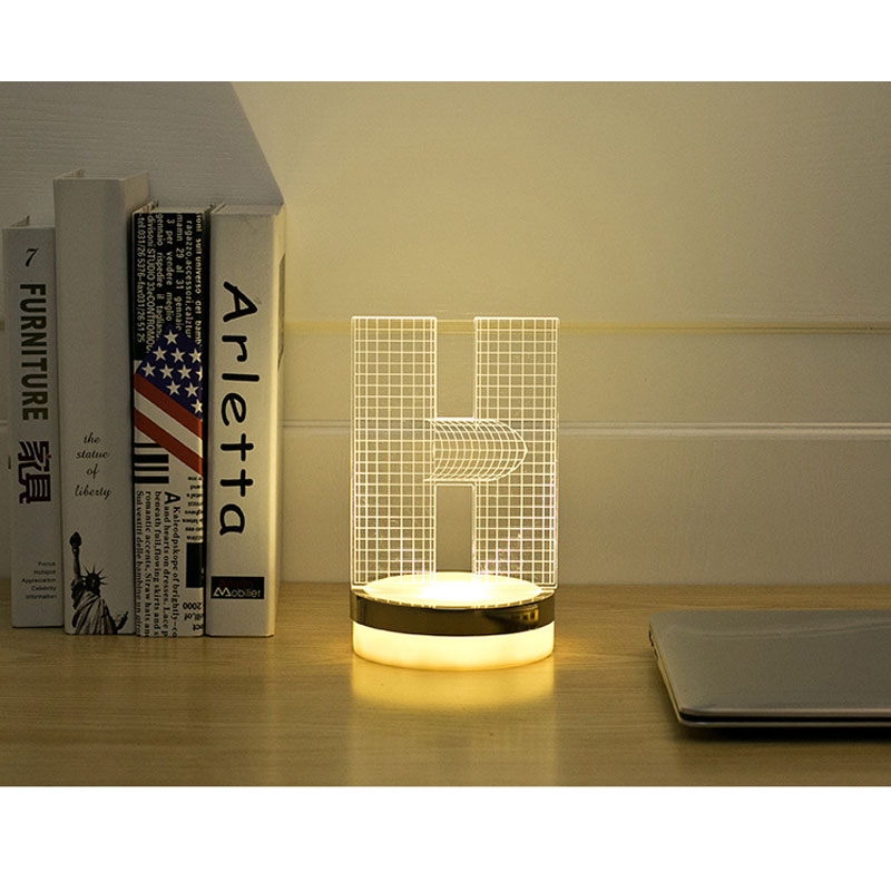 Acrylic Letter H 3D LED Lamp Baby Night Light Sleeping Lighting 5V USB Small led table Lamp Big white Creative Small Desk Lamp