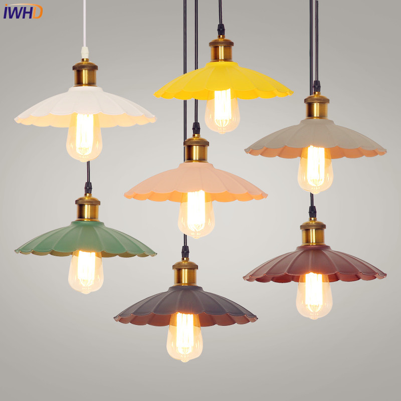 IWHD Nordic Retro LED Pendant Lights Industrial Vintage Pendant Lamp Colorful Loft Hanglamp Fixtures For Home Lighting Luminaire nordic retro pendant lights fixtures lampara vintage industrial lighting spider pendant lamp loft antique fixtures luminaire