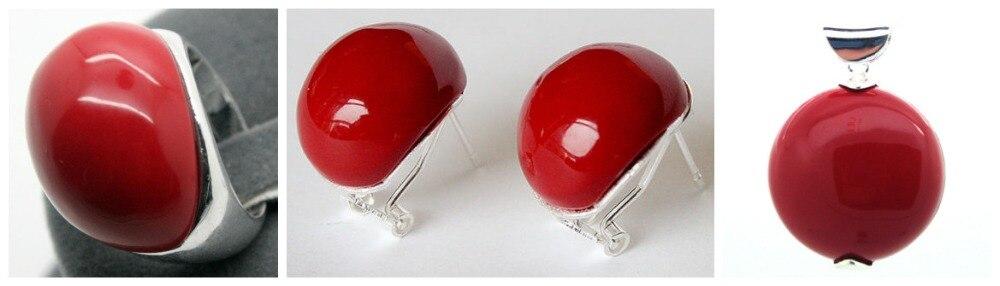 Belle bague Sterling 925 en laque sculptée rouge Marcasite (#7-10) boucles d'oreilles et ensembles de bijoux Pandent