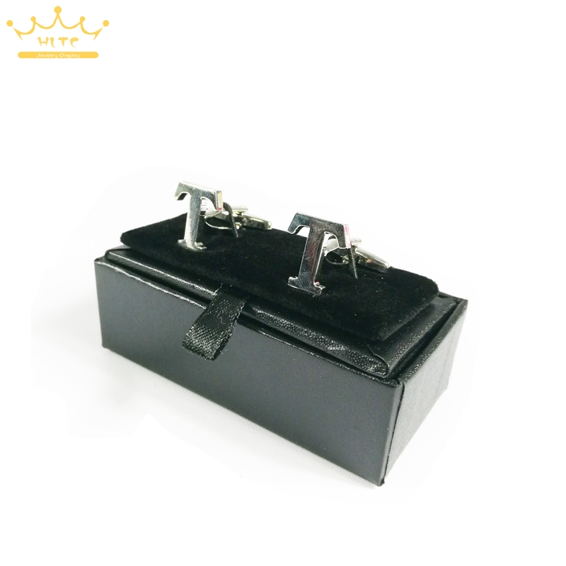 2015 New Hot High Quality Black Faux Leather Small Cufflinks Box 40pcs lot 8x4x3cm Size Classical