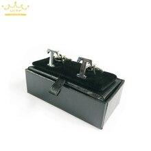 2015 Nieuwe! Hot! Hoge Kwaliteit Zwart Faux Lederen Kleine Manchetknopen Box 40 Stks/partij 8X4X3 Cm Size Klassieke Mode Gift dozen Voor Mannen