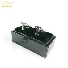 2015 nouveau! Super! Petite boîte de boutons de manchette en simili cuir noir de haute qualité 40 pièces/lot 8x4x3cm taille classique mode coffrets cadeaux pour hommes