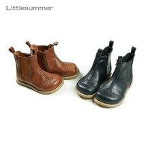 Ботинки для девочек из натуральной кожи в стиле ретро; модные детские ботинки «Челси»; детские непромокаемые ботинки; ковбойские ботинки для мальчиков и девочек
