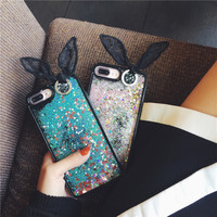 Luxury Cute Blingbling Rabbit Ear Phone Case For IPhone 7 PLUS 5 5 INCH Rabbit Ear