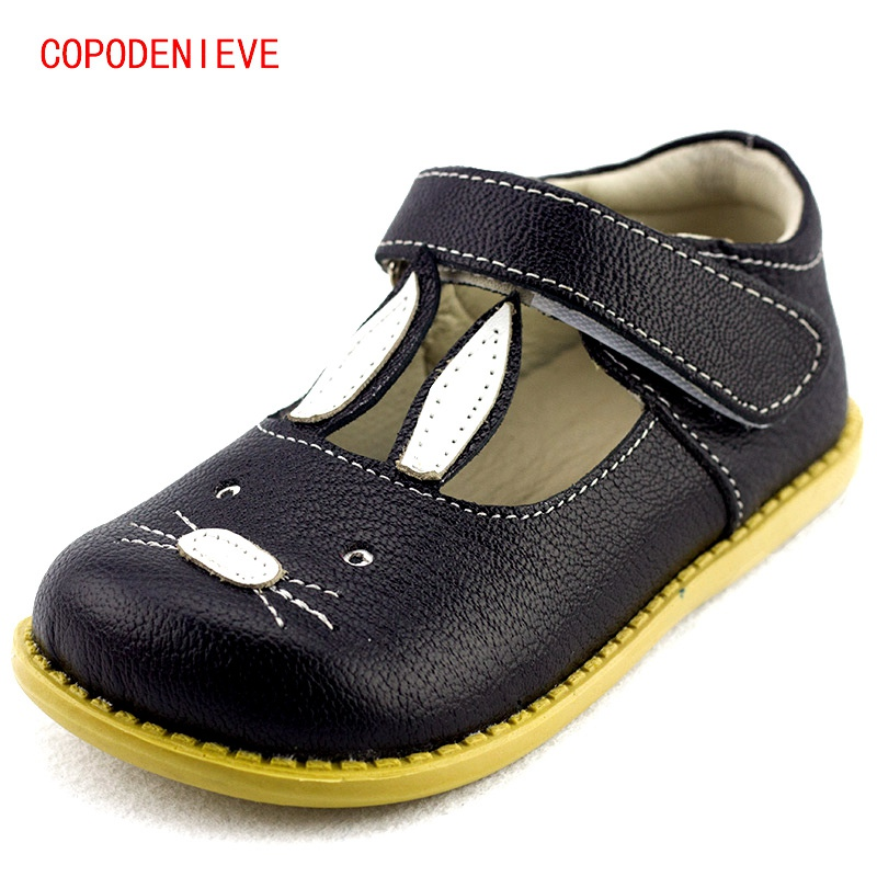 COPODENIEVE Genuine Leather Quality Children Shoes Girls Shoes Princess The rabbit Girls Princess Kids Soft Sole Leather Flats