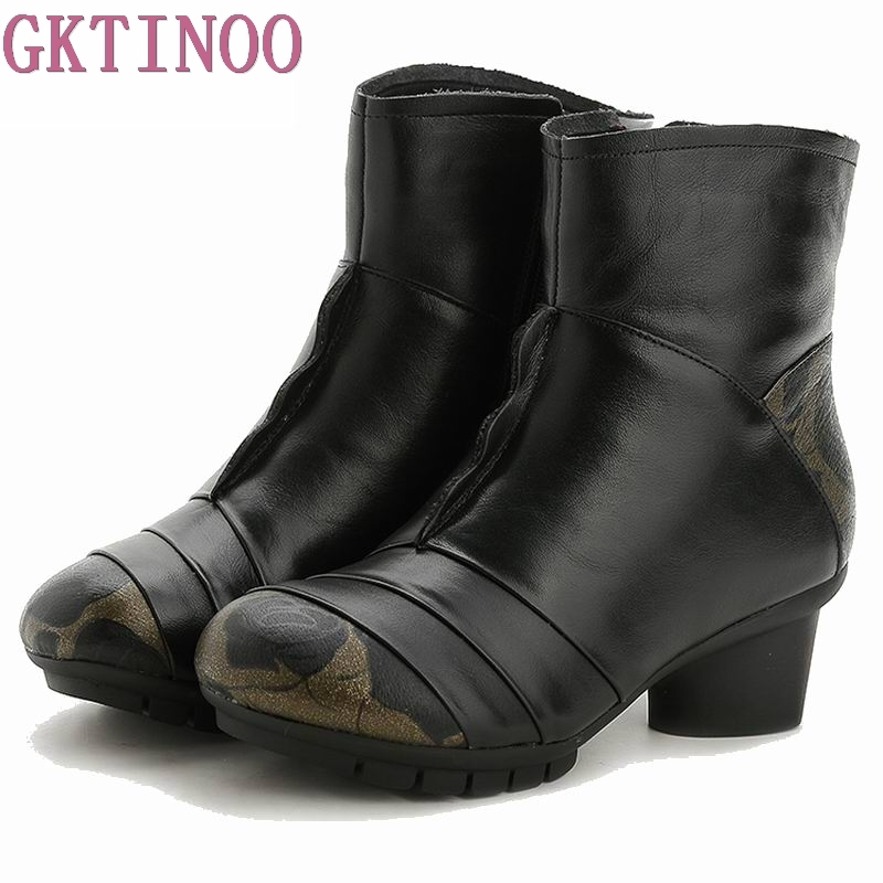 Snow Warm Fashion Women Boots Plush Winter Rubber Round Toe Zipper Ankle Boot Cow Genuine Leather Shoes
