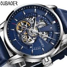 OUBAOER Heren Horloges Top Brand Luxe Automatische Mechanische Horloge Mannen Lederen Business Waterdichte Sport Horloges Relogio Masculino