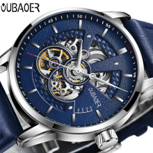 OUBAOER Mens Watches Top Brand Luxury Automatic Mechanical Watch Men Leather Business Waterproof Sport Watches Relogio Masculino