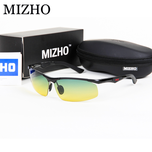 MIZHO Day & Night Uso Motoristas de Carro de Alta Qualidade Moldura de Alumínio Retângulo Amarelo Semi-Sem Aro de Óculos De Sol Dos Homens Polarizados