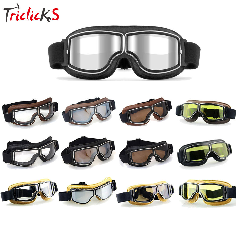 Triclicks Motorcross Retro Aviator Pilot Goggles Motorcycle Bike Cruiser Scooter Goggles Leather Eyewear Protective Gear Glasses