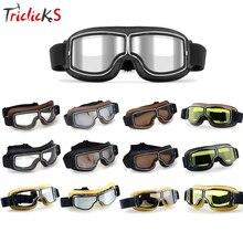 Triclicks Motorcross Retro Aviator Pilot Goggles Motorcycle Bike Cruiser Scooter Goggles Leather Eyewear Protective Gear Glasses цена