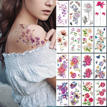 Waterproof Temporary Tattoo Sticker Purple Cherry Blossom Plum Flower Tatoo Birds Feather Water Transfer fake flash tatto