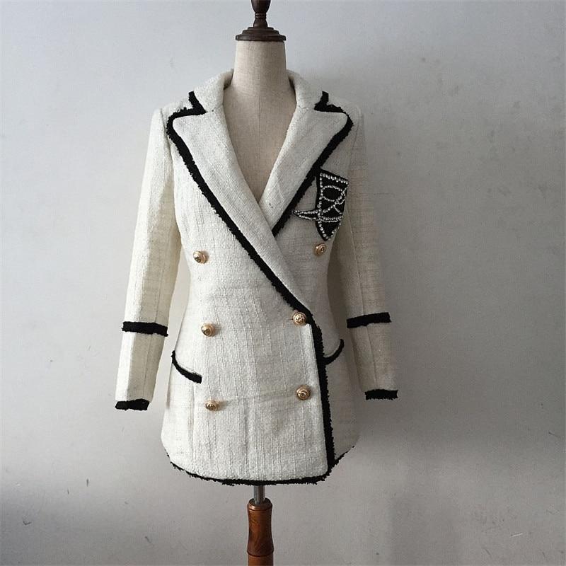Beige Breasted Tweed Cachemire Blanc Outwear Laine Femmes Veste À Paillettes Longues Manteau Diamants Q111 Automne Designer En Double Hiver Manches 6qOZ8nH