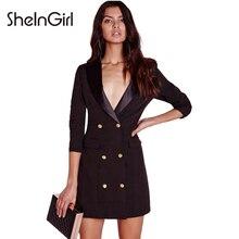 Sheingirl черные пикантные платье Для женщин офисные Блейзер платье Шик облегающее платье мини одной кнопки женский Повседневное Vestidos
