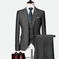 Dress up four seasons men's suit business three piece two button slim suit (top + pants + vest)
