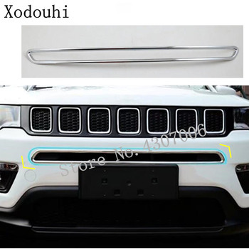 Car Cover Protection ABS Chrome Trim Front Bottom Grid Grill Grille Molding Bumper Hoods For Jeep Compass 2017 2018 2019 2020