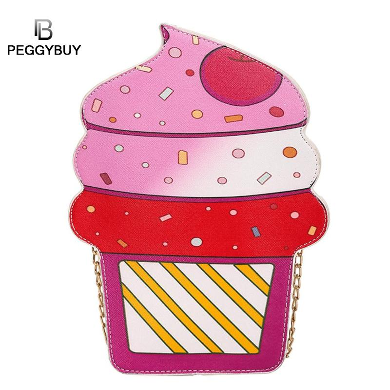 2018 Cute Ice Cream Cupcake Women Bag PU Leather Small Chain Clutch Girl Messenger Crossbody Shoulder Bags Female Purse Handbags 2017 fashion all match retro split leather women bag top grade small shoulder bags multilayer mini chain women messenger bags