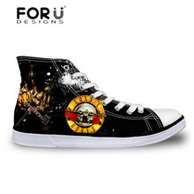 Gun N Rose Pattern Printed Shoes FORUDESIGNS Men High-Top Canvas Shoes Black Solid Flat Shoes Boys Man Male Men's Casual Shoes
