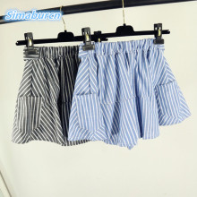 цены на 2017 Fashion Cotton Striped Shorts Womens Sexy Fake Two Pieces of Loose Striped Skirt Elastic Middle Waist Girls Shorts   в интернет-магазинах