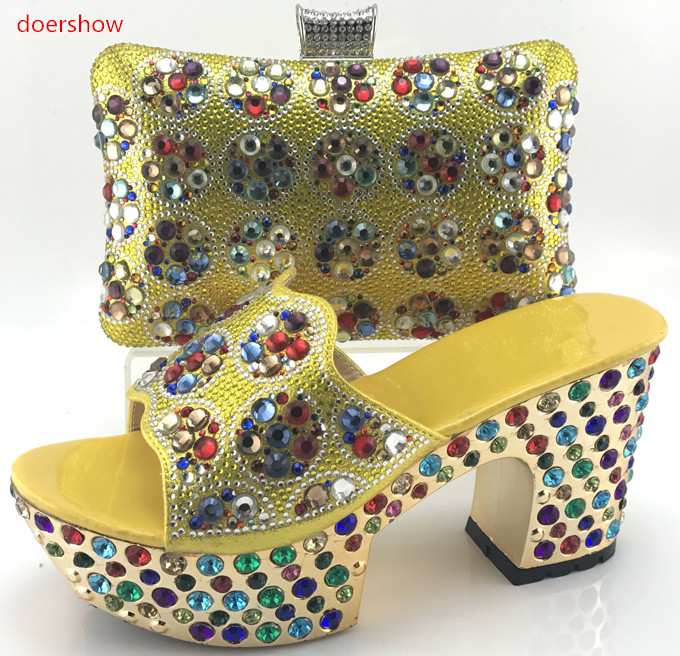 doershow Italian Matching Shoes and Bag Set African Wedding Shoe and Bag Set Italy Shoe and Bag Set Summer Women!WI1-8